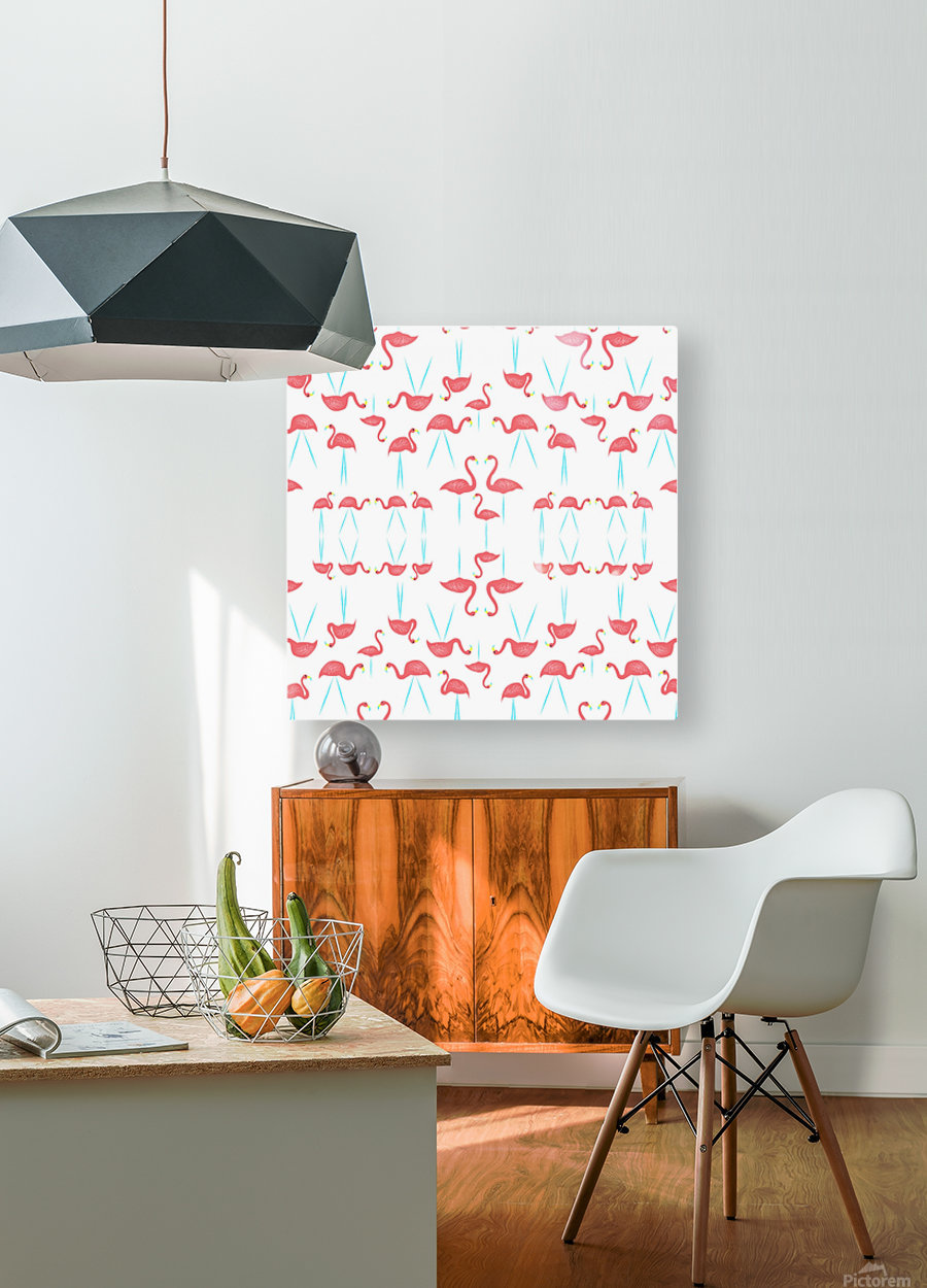 flamingos  HD Metal print with Floating Frame on Back