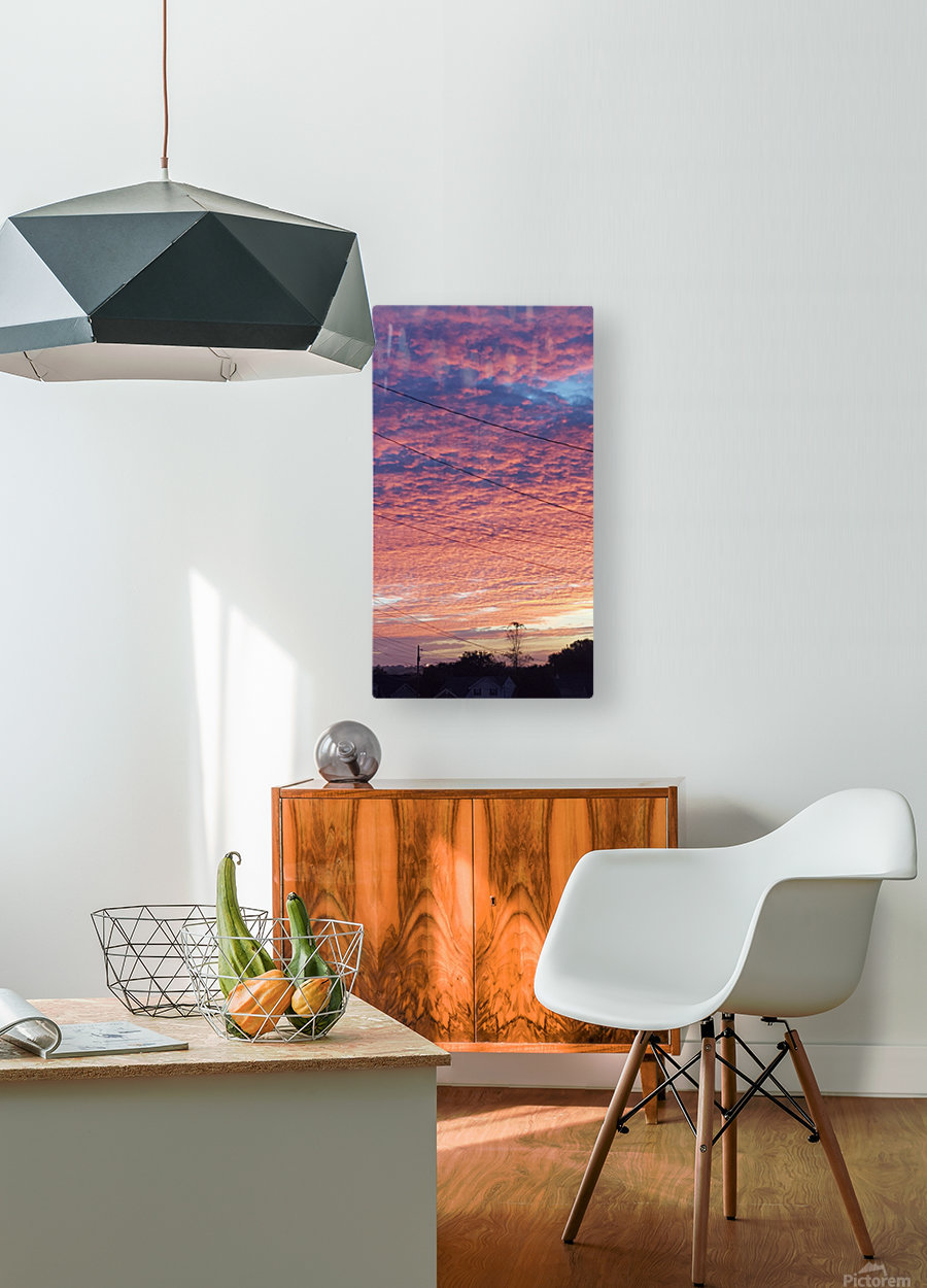 Red Sky Over Wires  HD Metal print with Floating Frame on Back