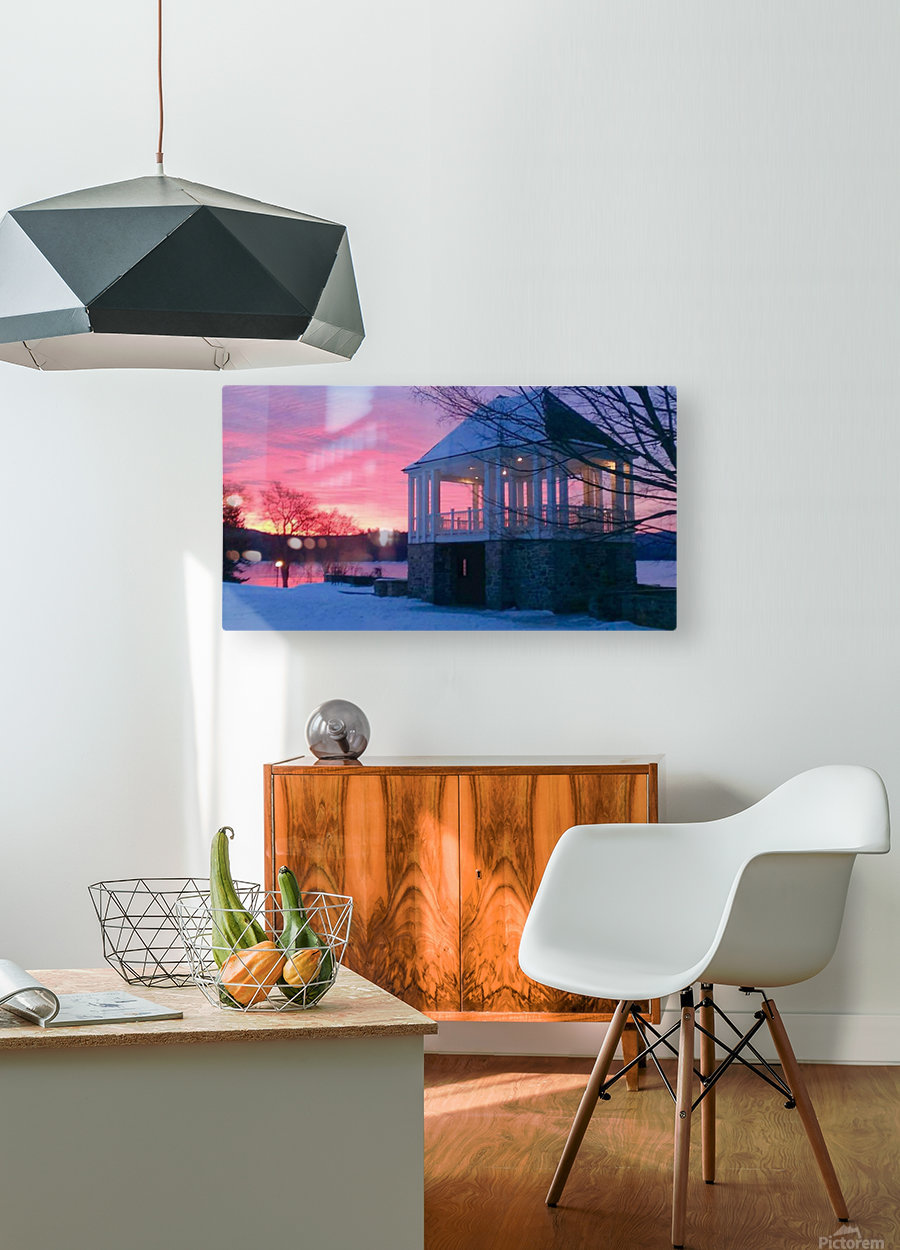 winter sunrise over the park  HD Metal print with Floating Frame on Back