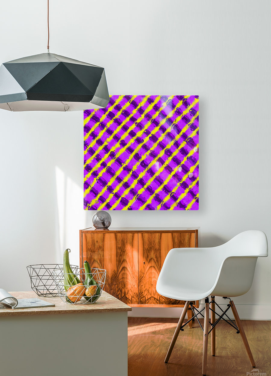 line pattern painting abstract background in purple and yellow  HD Metal print with Floating Frame on Back
