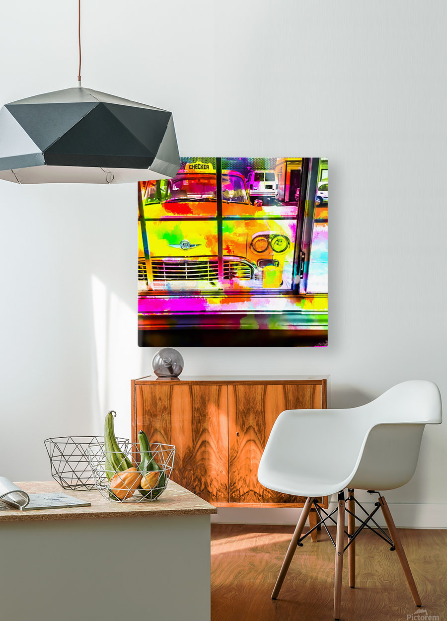 yellow classic taxi car with colorful painting abstract in pink orange green  HD Metal print with Floating Frame on Back