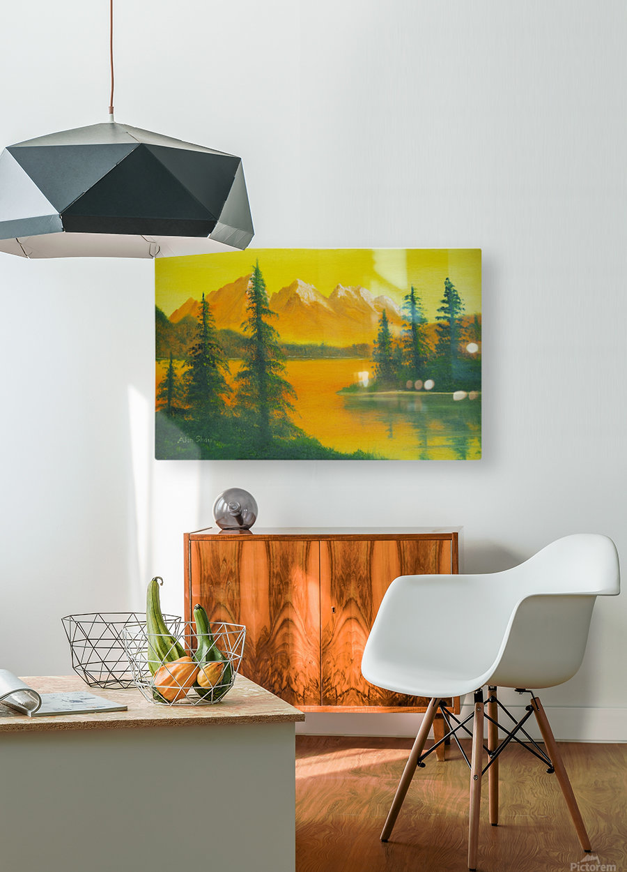 Yellow sky- snow capped mountains.  HD Metal print with Floating Frame on Back