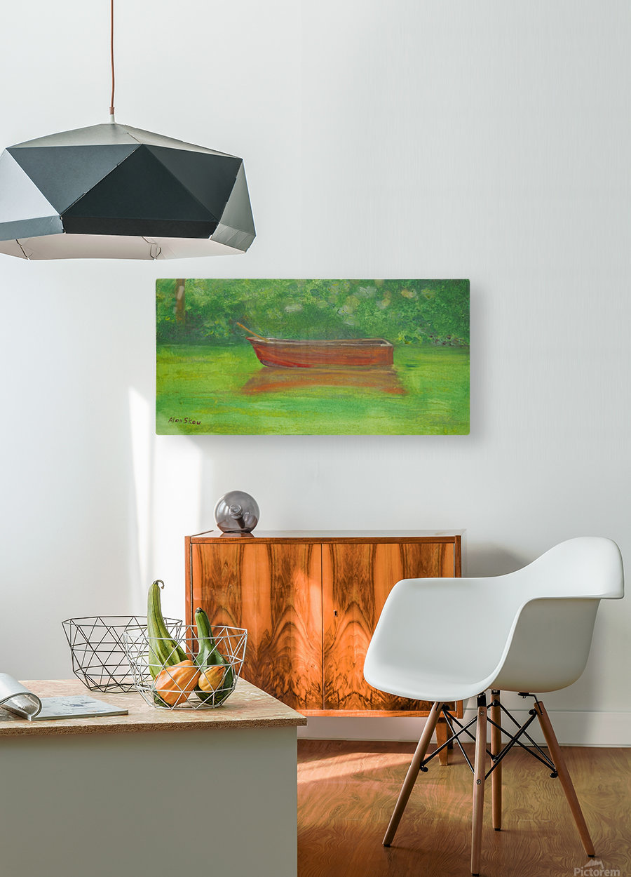 Rowboat drifting.  HD Metal print with Floating Frame on Back