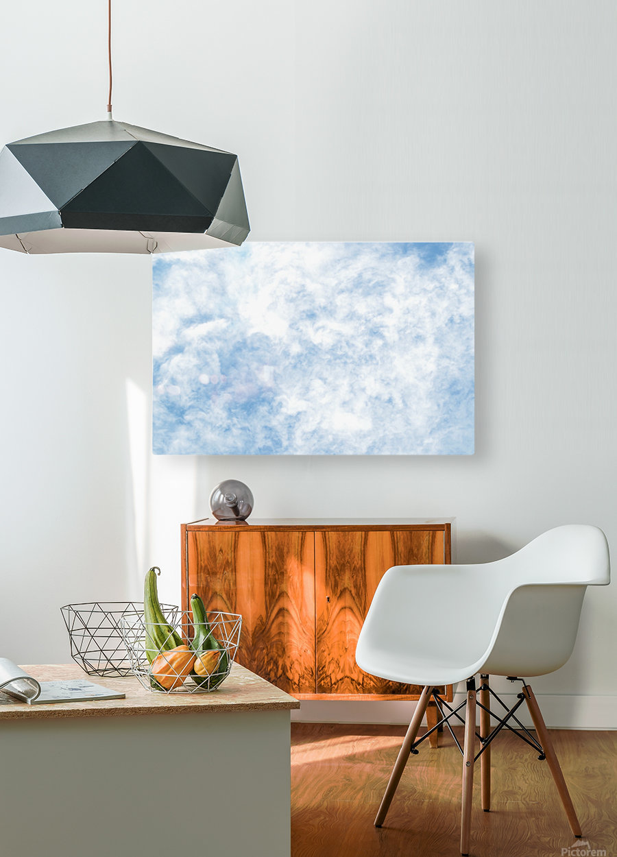 Wispy White Cloud.  HD Metal print with Floating Frame on Back