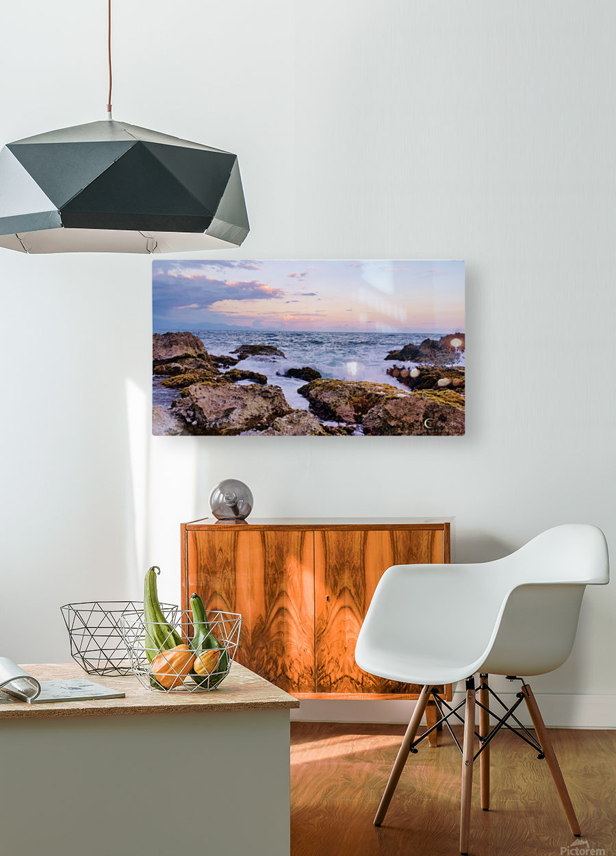 Evening waves  HD Metal print with Floating Frame on Back