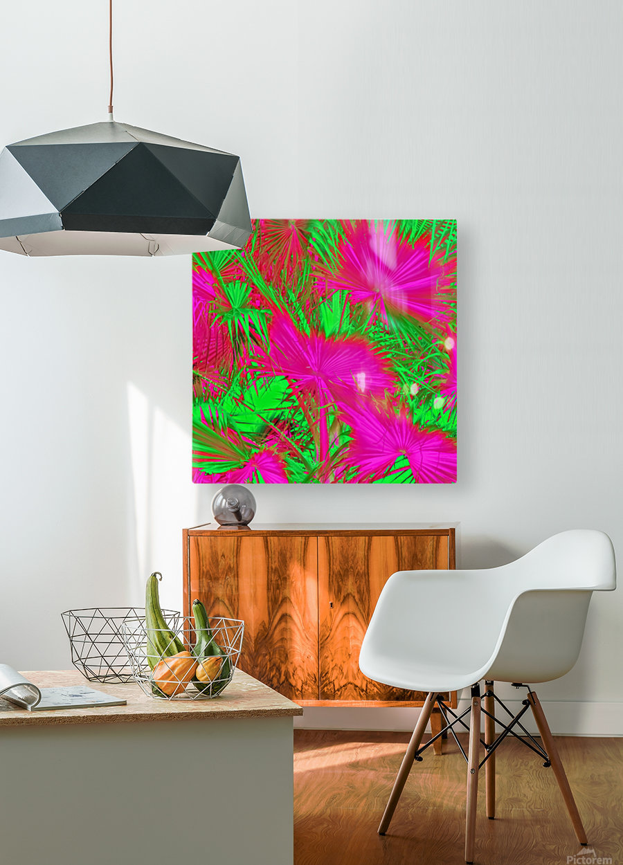 closeup palm leaf texture abstract background in pink and green  HD Metal print with Floating Frame on Back