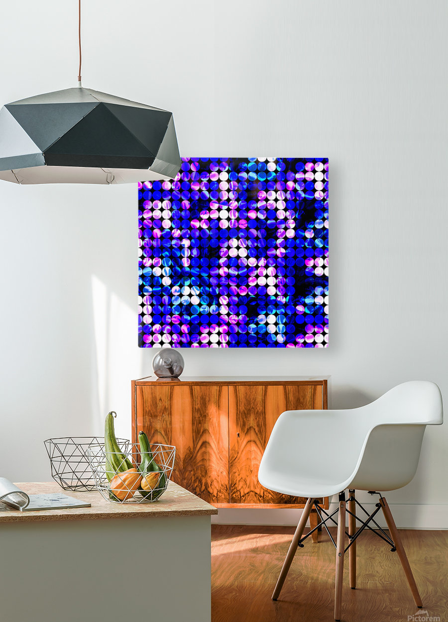circle pattern abstract background with splash painting abstract in blue and pink  HD Metal print with Floating Frame on Back