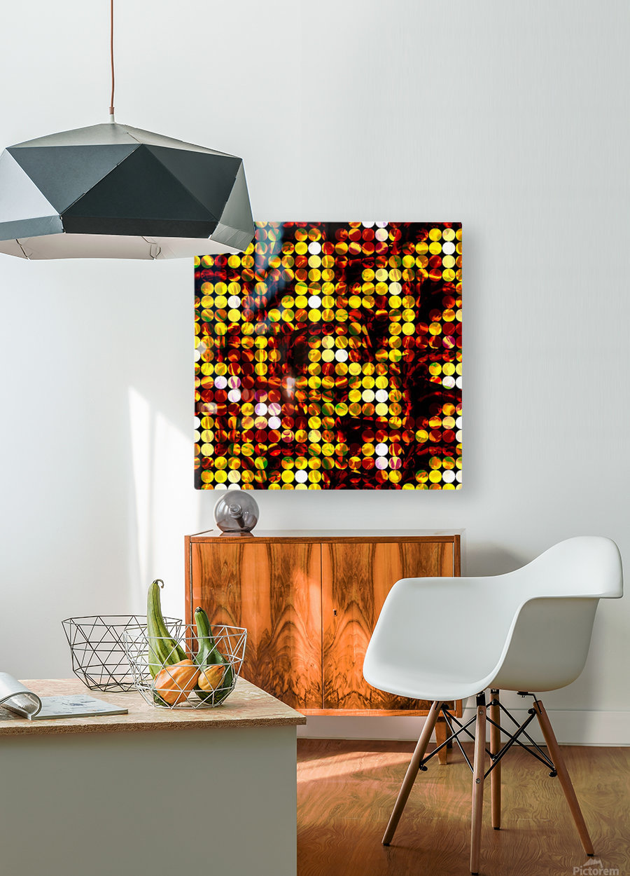 circle pattern abstract background with splash painting abstract in yellow red brown  HD Metal print with Floating Frame on Back