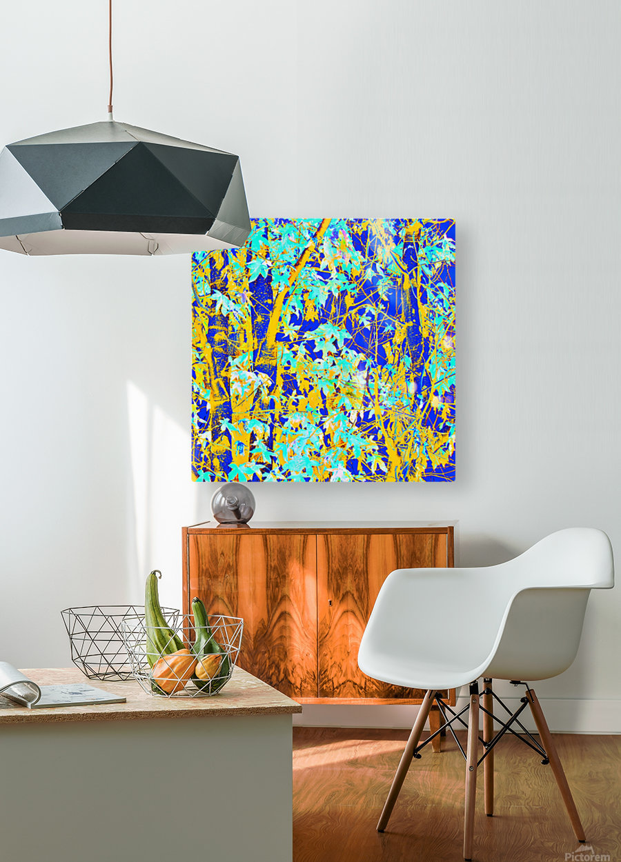 green maple tree leaf with blue and yellow abstract background  HD Metal print with Floating Frame on Back