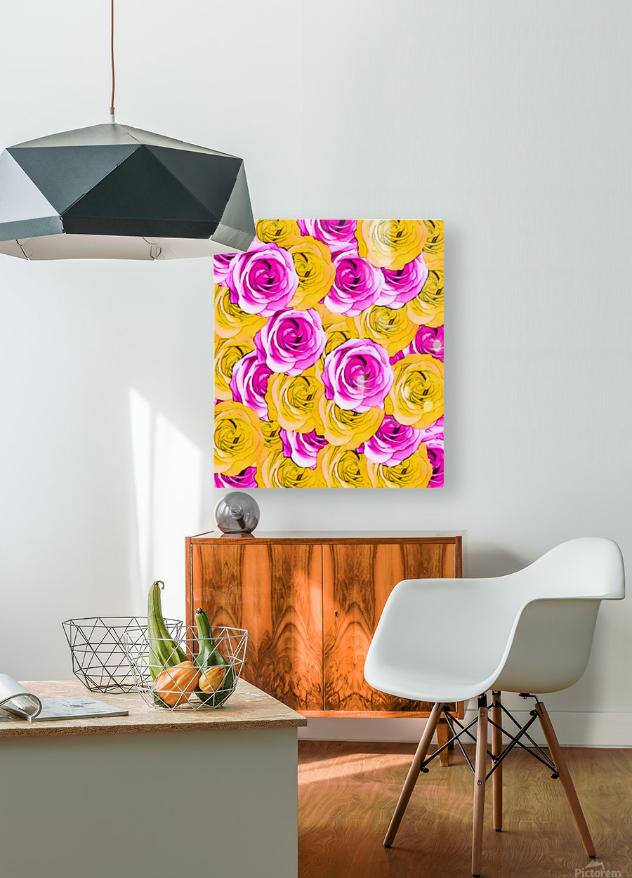 pink rose and yellow rose pattern abstract background  HD Metal print with Floating Frame on Back