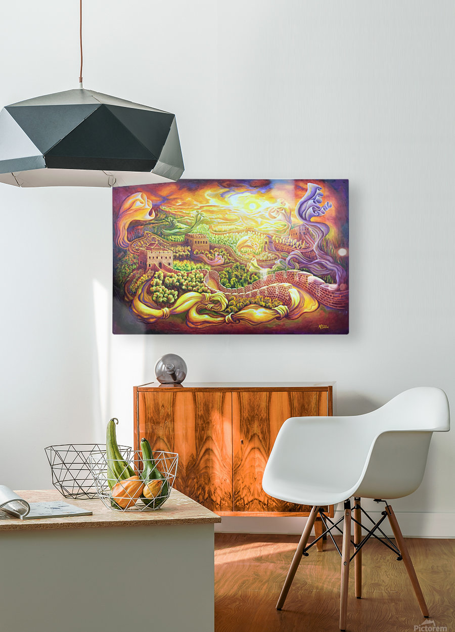 The dragons of the Great Wall  HD Metal print with Floating Frame on Back