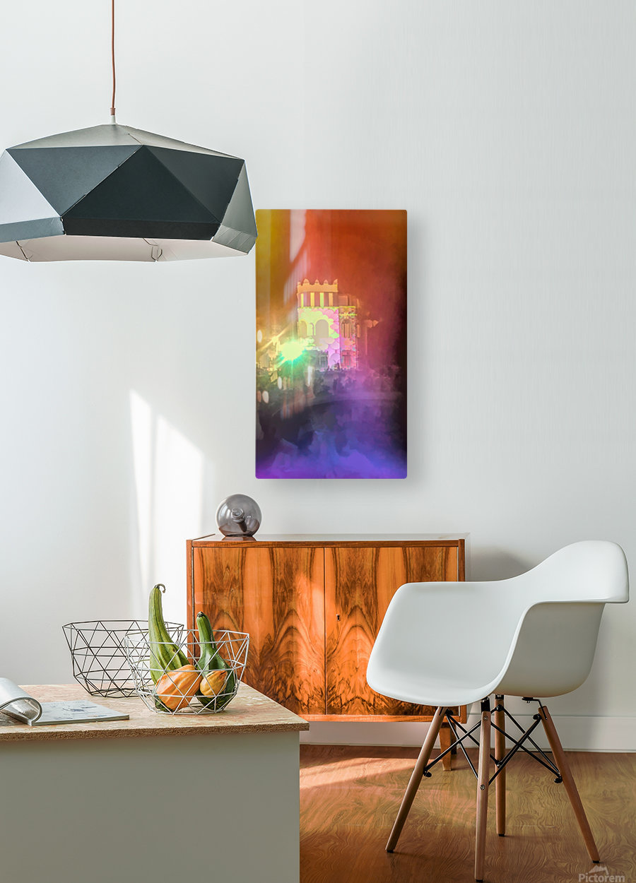 Festival Lights and Fire 2  HD Metal print with Floating Frame on Back