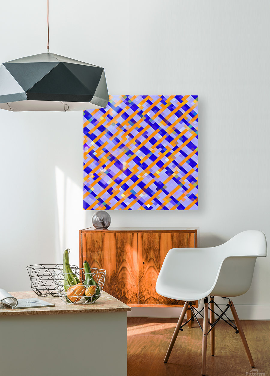 geometric pixel square pattern abstract background in orange blue purple  HD Metal print with Floating Frame on Back