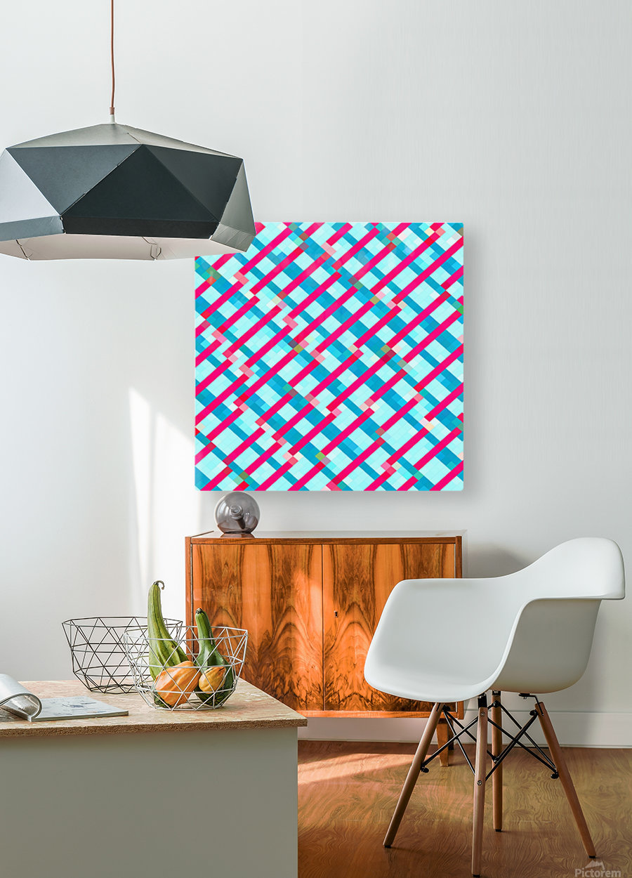 geometric pixel square pattern abstract background in blue pink  HD Metal print with Floating Frame on Back