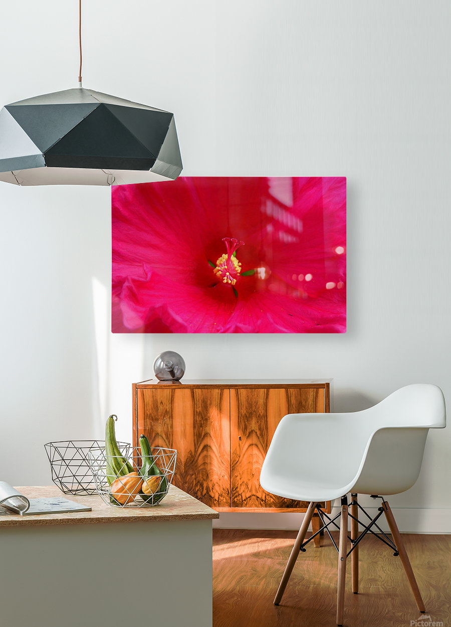 Pistil painted  HD Metal print with Floating Frame on Back