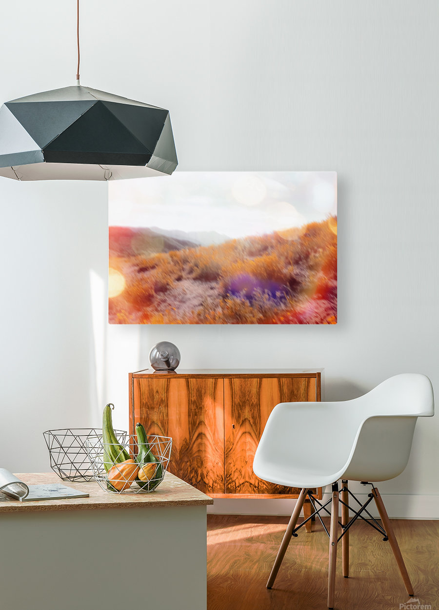 yellow flower field on the mountain with summer light bokeh abstract  HD Metal print with Floating Frame on Back