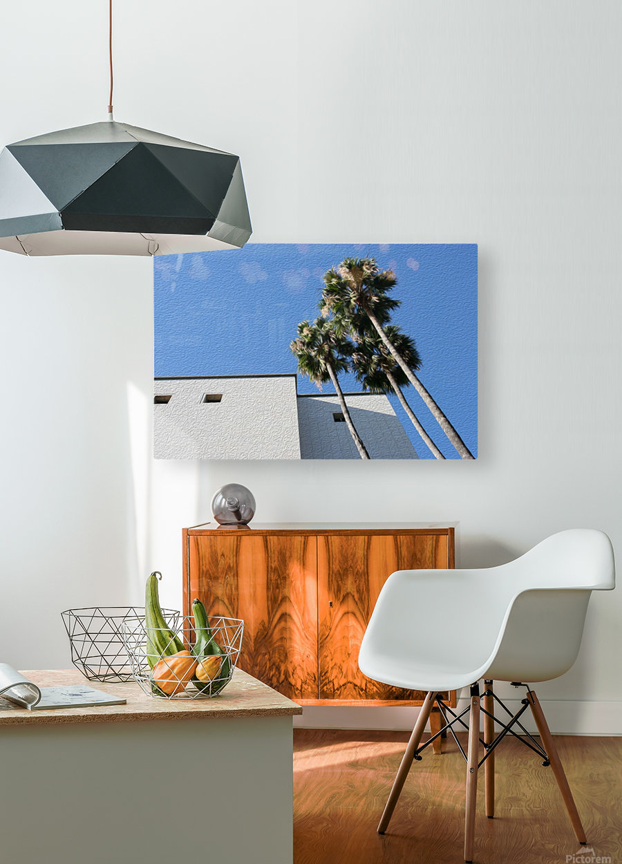 3 Palm Trees Next to Building  HD Metal print with Floating Frame on Back