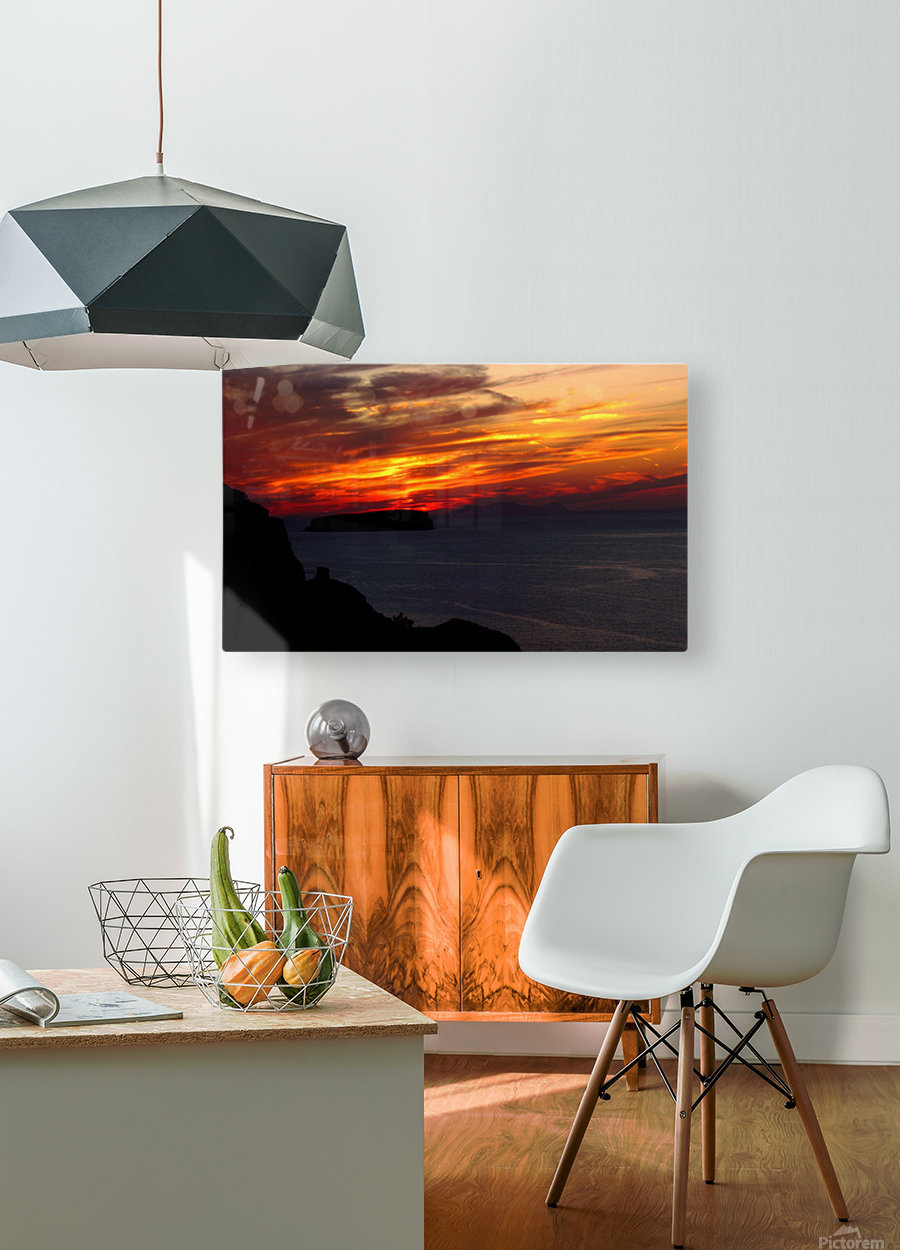 Amazing sunset   HD Metal print with Floating Frame on Back