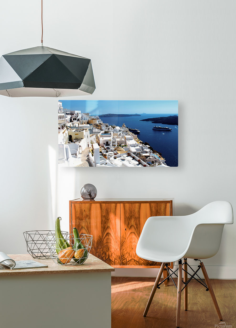 Super panoramic view - Santorini - Greece  HD Metal print with Floating Frame on Back