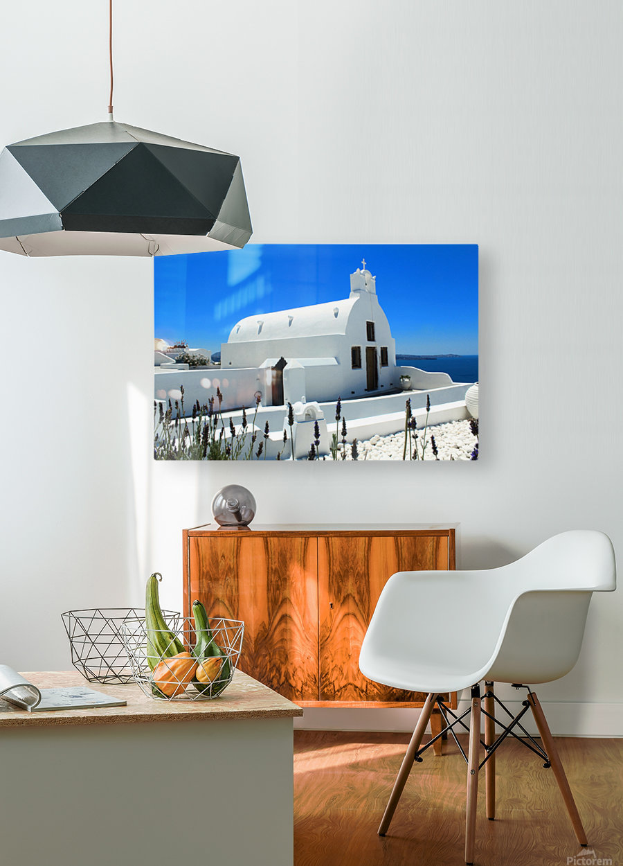 Small White Church in Santorini - Greece  HD Metal print with Floating Frame on Back