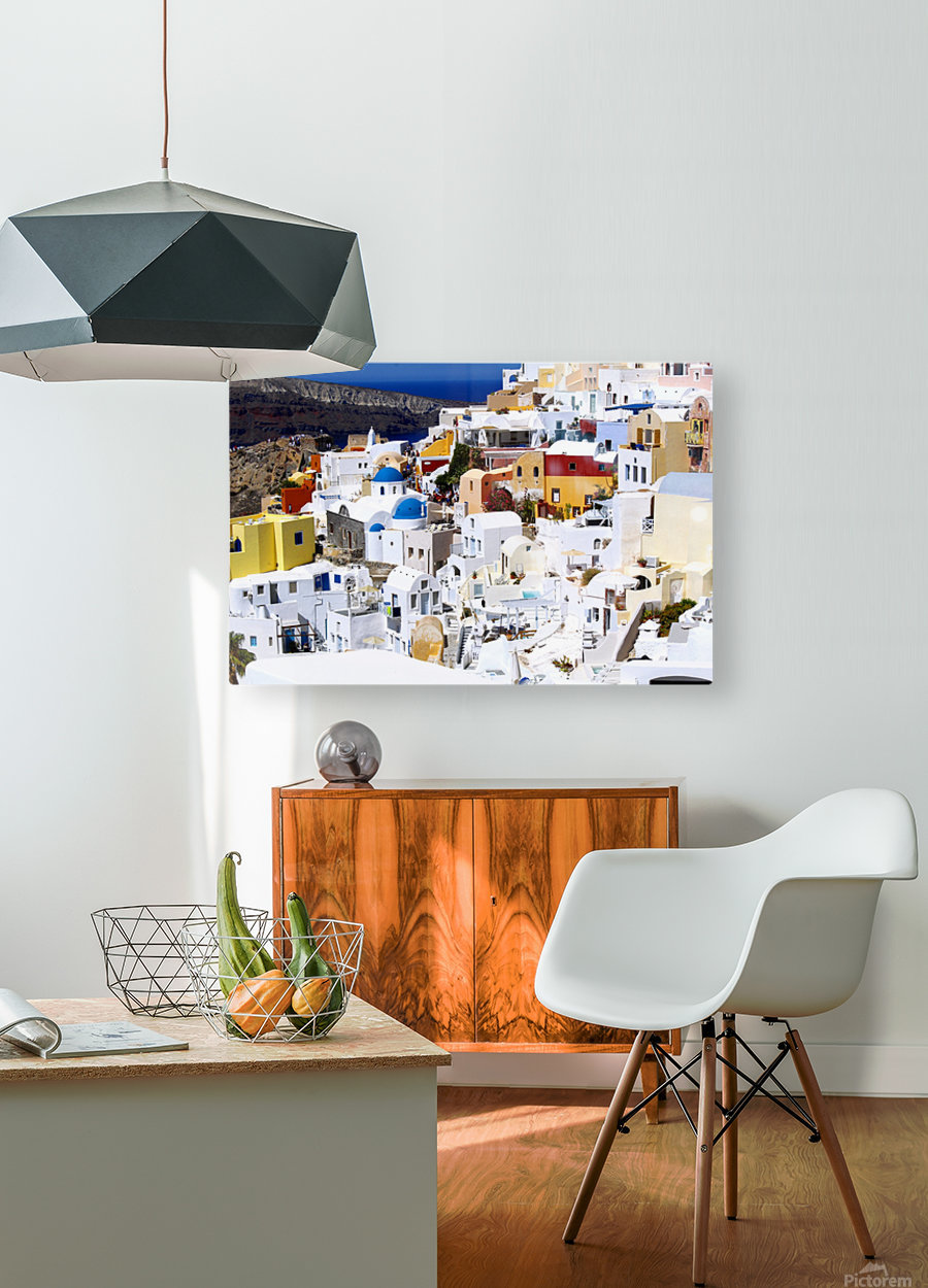 Colours of Santorini  HD Metal print with Floating Frame on Back