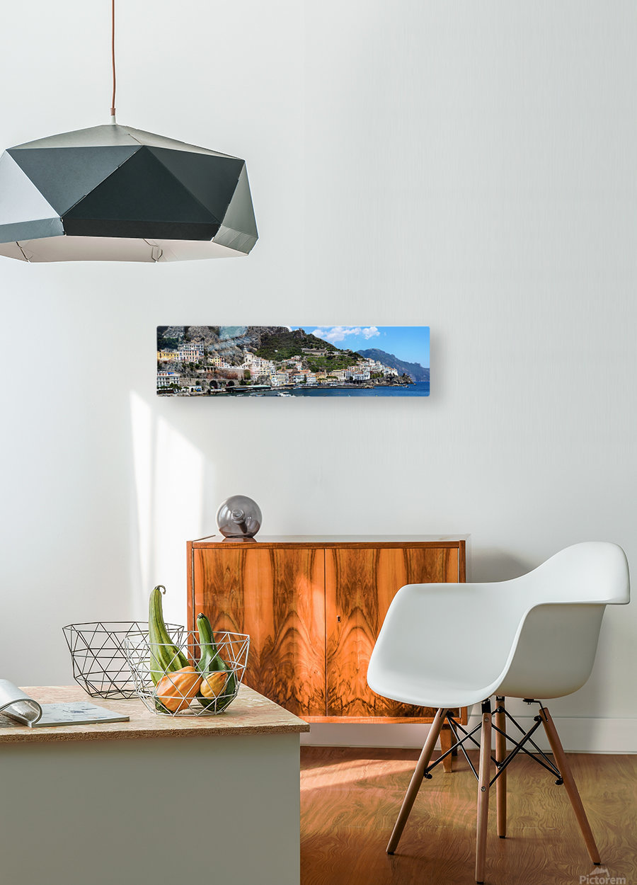 Super panoramic Amalfi City - Italy  HD Metal print with Floating Frame on Back