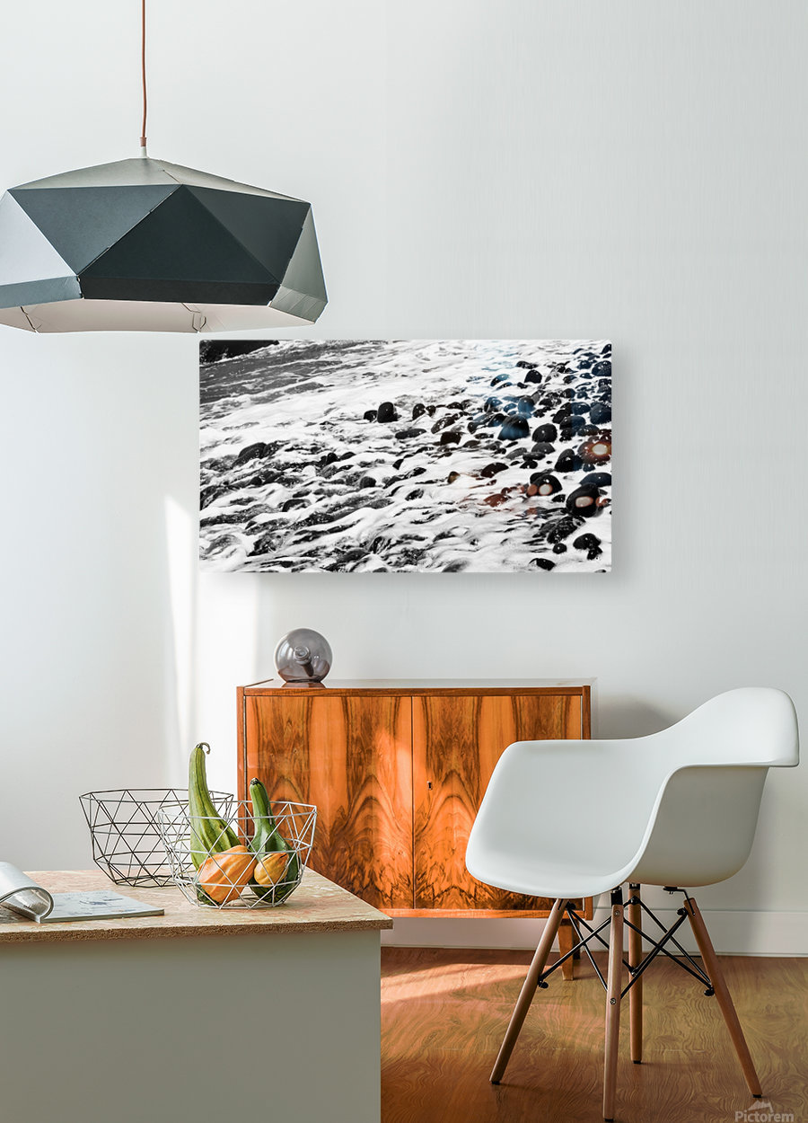 Beach Rocks Black and White II  HD Metal print with Floating Frame on Back