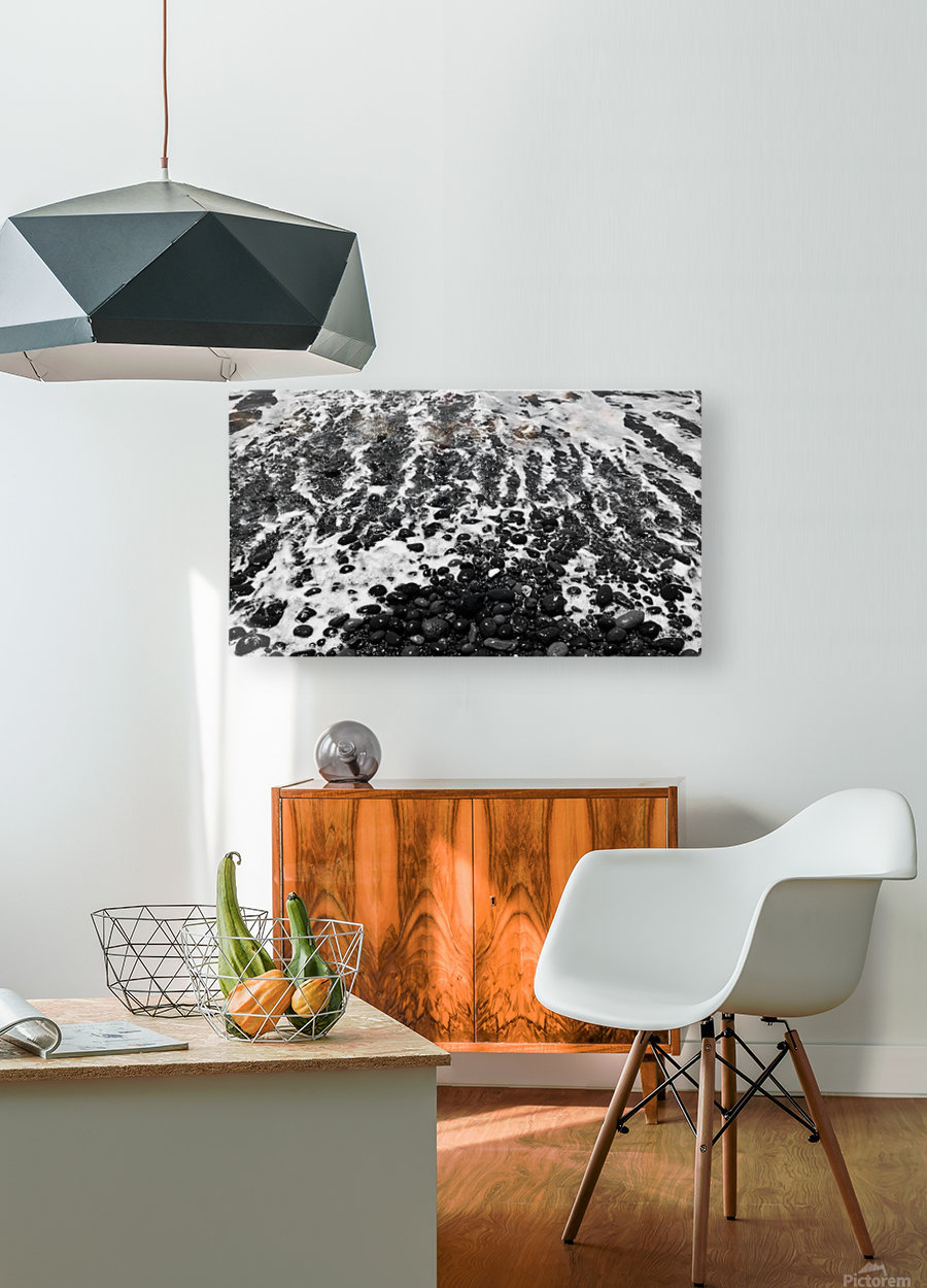 The Beach - Ocean waves in Black and White  HD Metal print with Floating Frame on Back