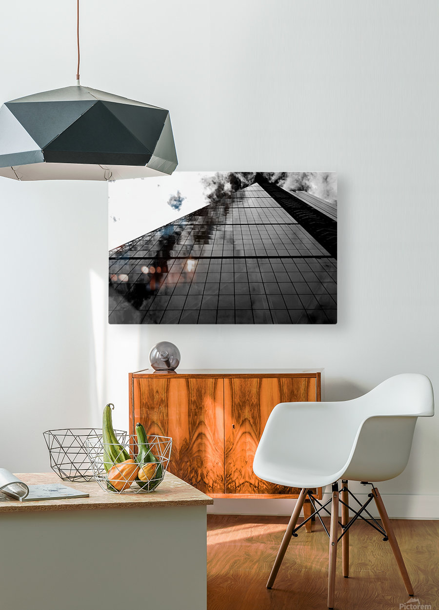 London Skyscraper II - Black and White  HD Metal print with Floating Frame on Back