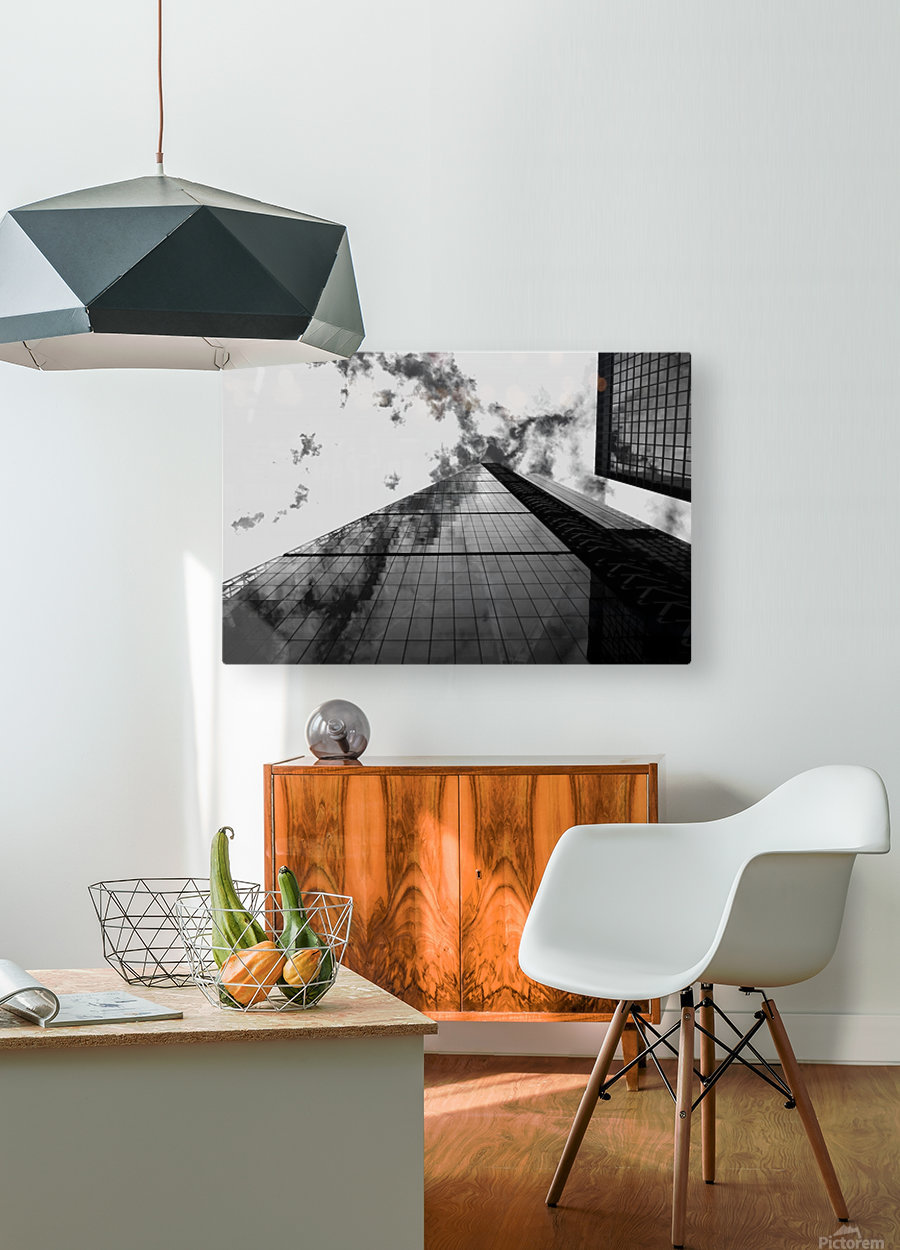 London Skyscraper  - Black and White  HD Metal print with Floating Frame on Back
