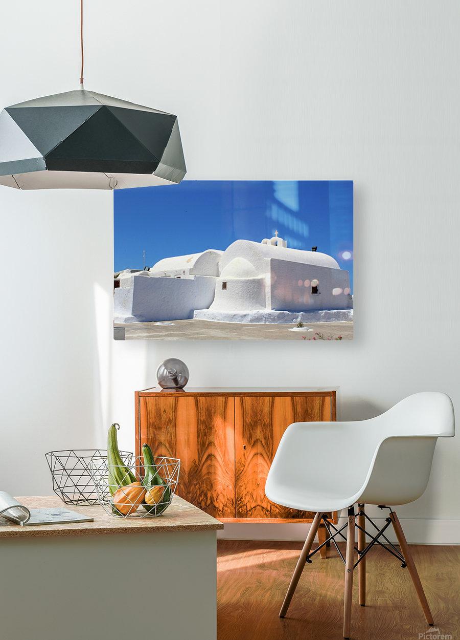 White Church -Santorini Island -  Greece  HD Metal print with Floating Frame on Back