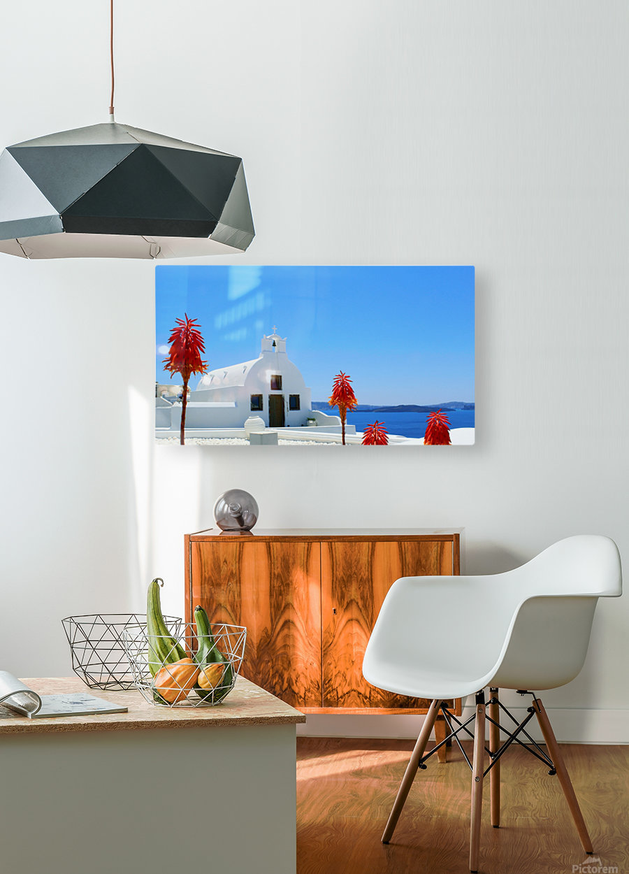 Santorini Island Landscape - Greece  HD Metal print with Floating Frame on Back