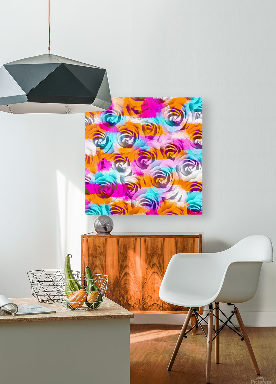closeup rose texture pattern abstract background in pink orange blue  HD Metal print with Floating Frame on Back