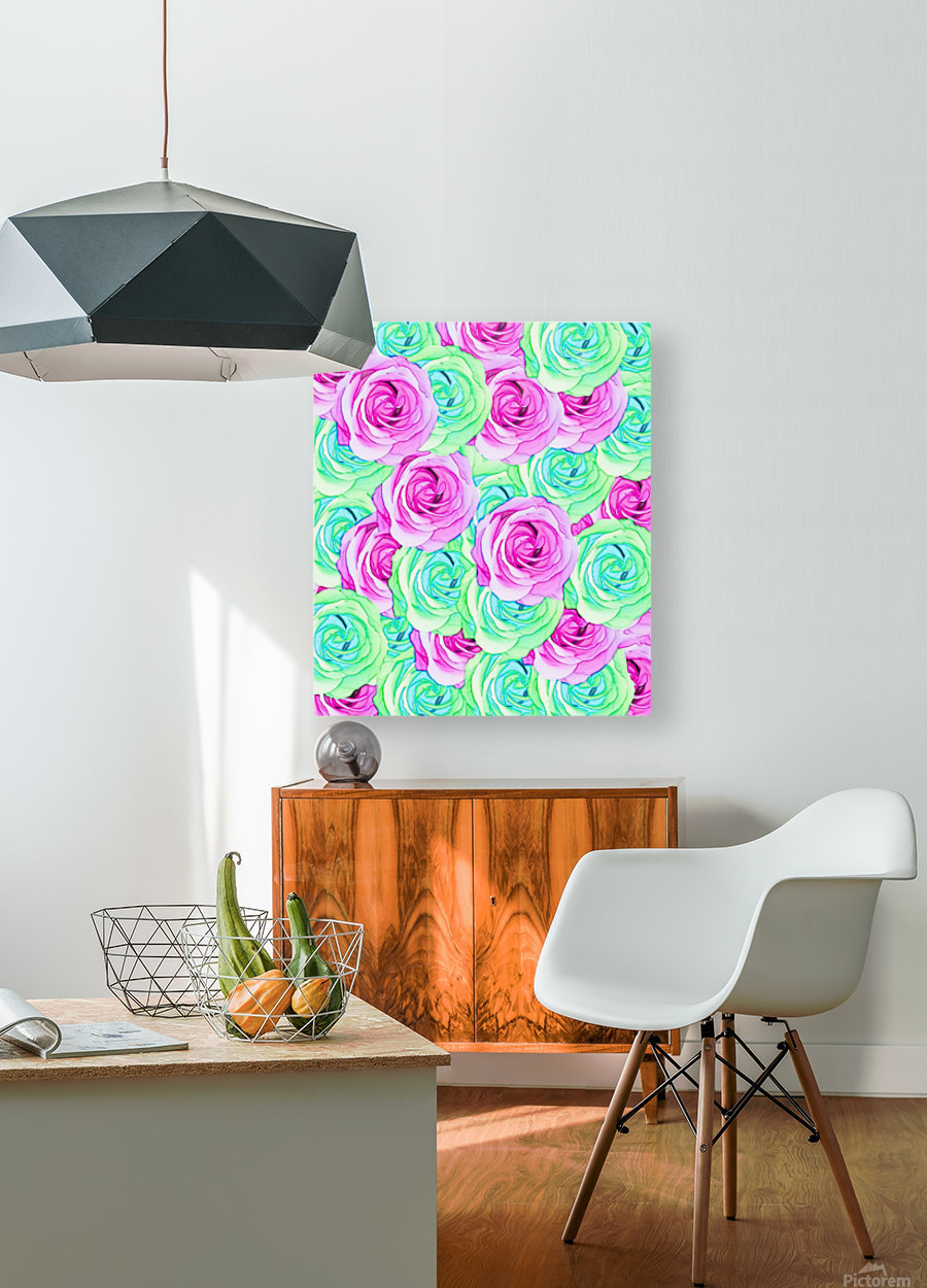 blooming rose texture pattern abstract background in pink and green  HD Metal print with Floating Frame on Back