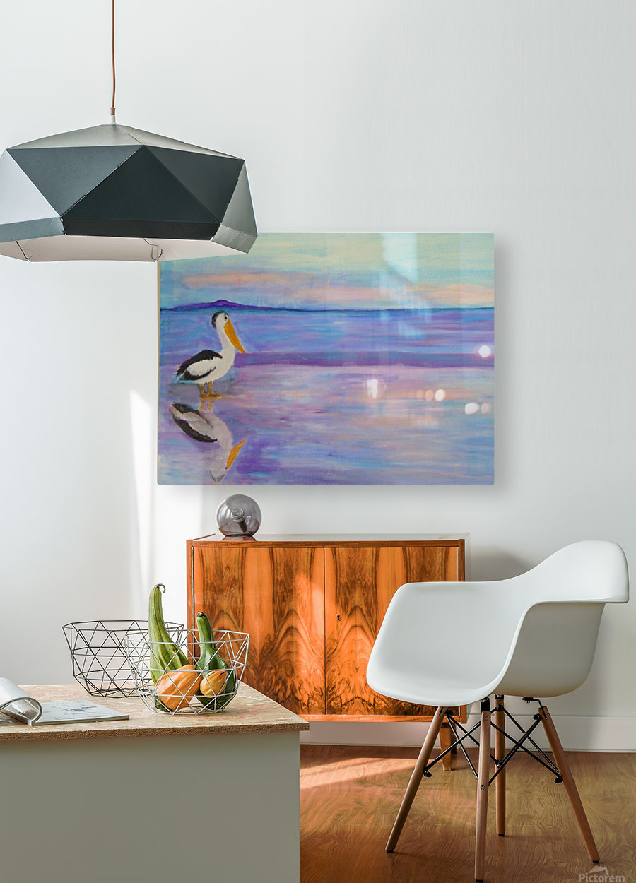Bird on The Beach  HD Metal print with Floating Frame on Back