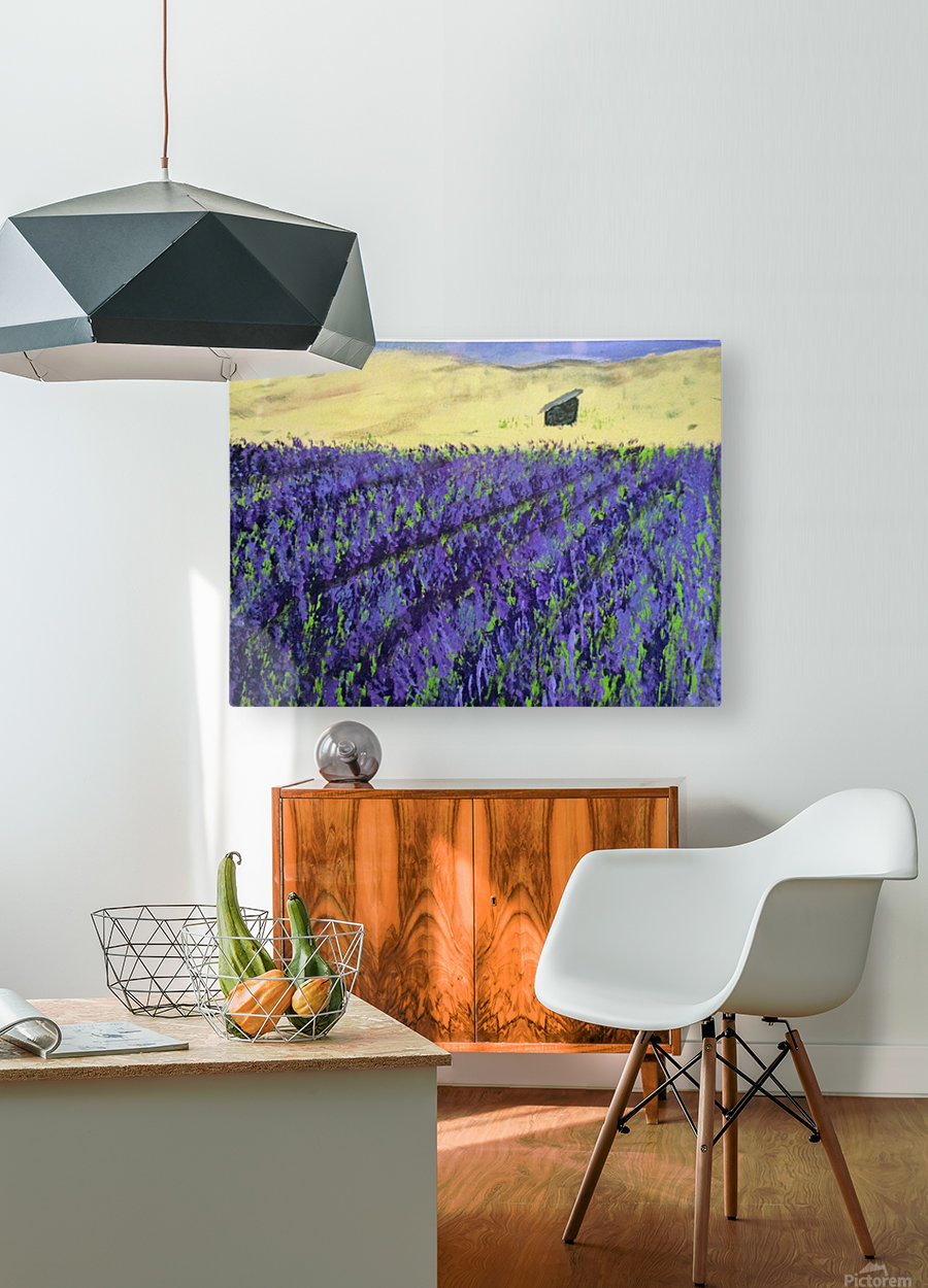 Purple Lavender fields painting  HD Metal print with Floating Frame on Back