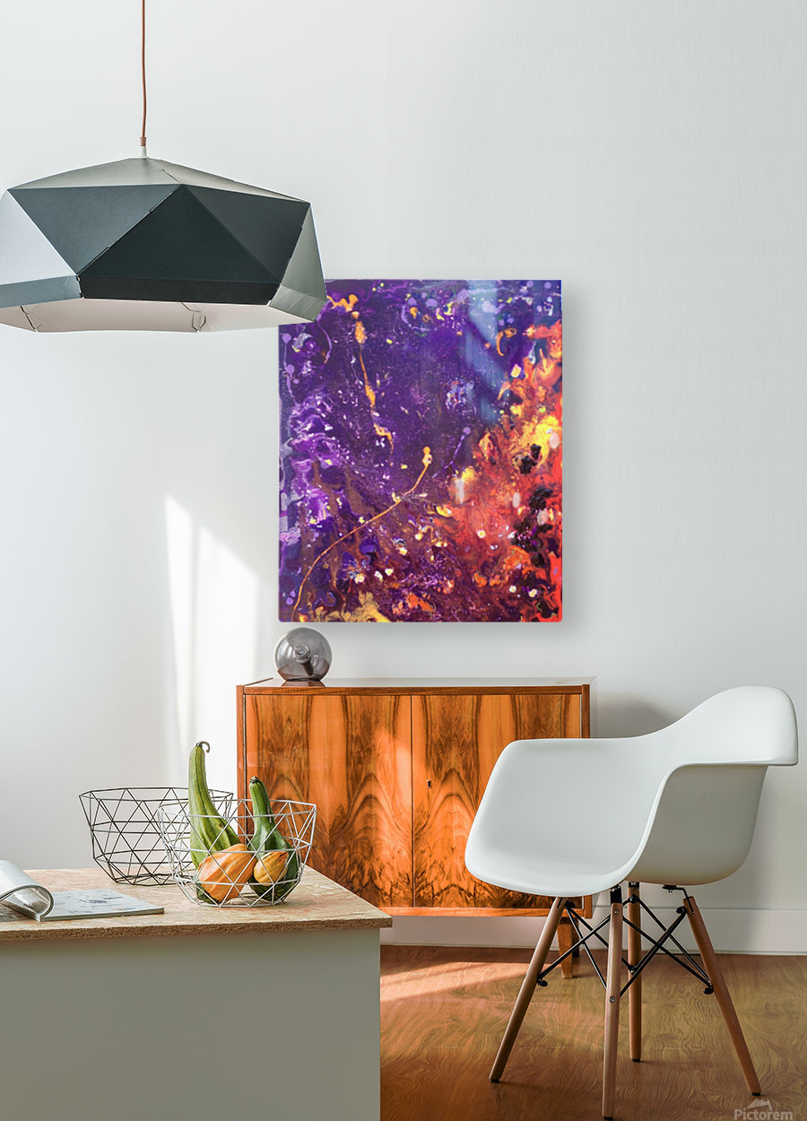 The Flow Purple and Orange Abstract  HD Metal print with Floating Frame on Back