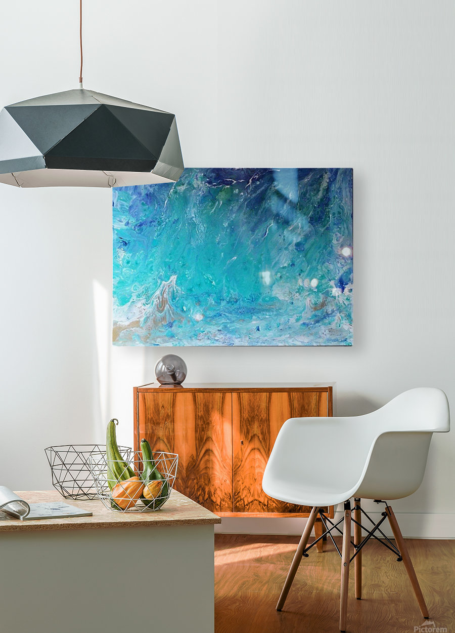 Wet an Abstract wave  HD Metal print with Floating Frame on Back