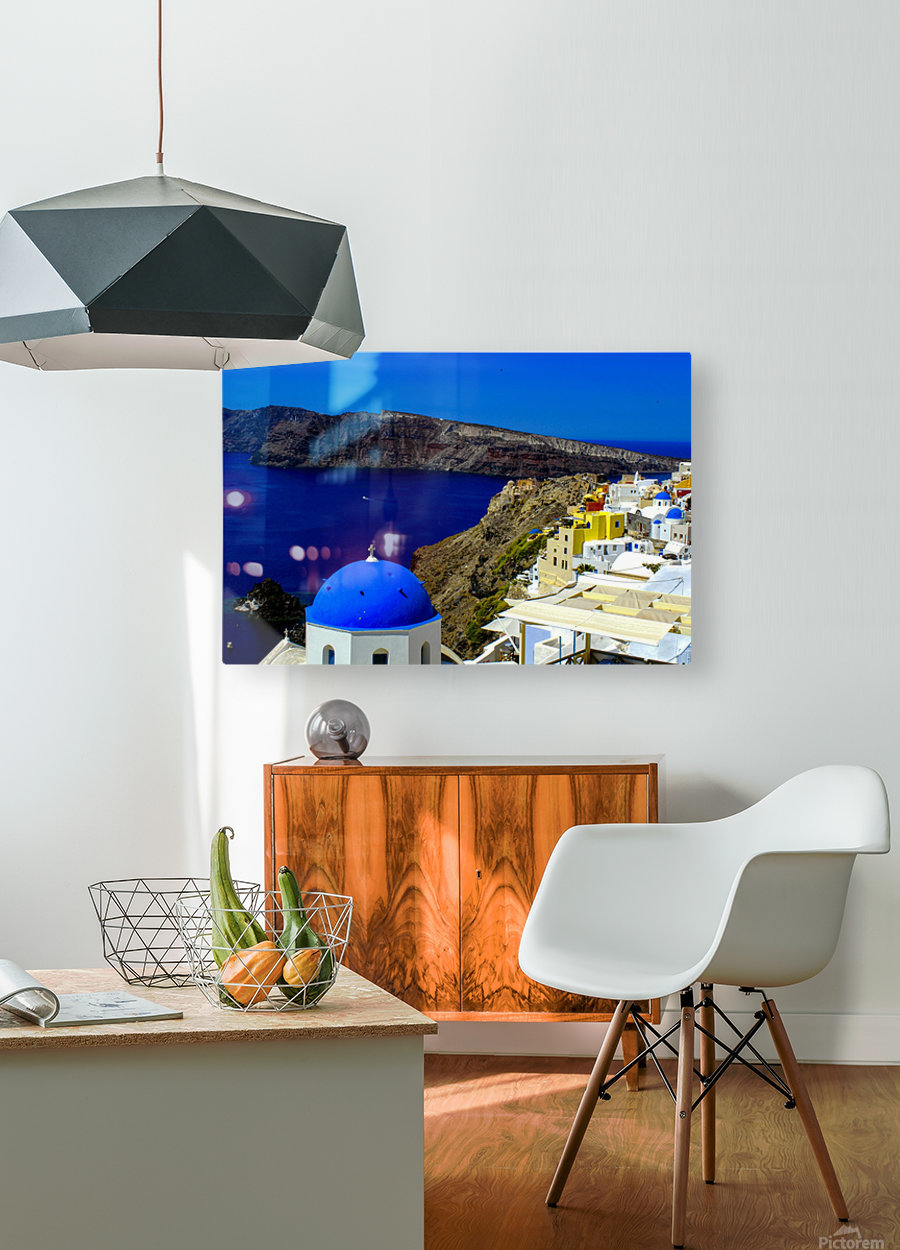 Santorini  - Super Colorful Landscape  HD Metal print with Floating Frame on Back