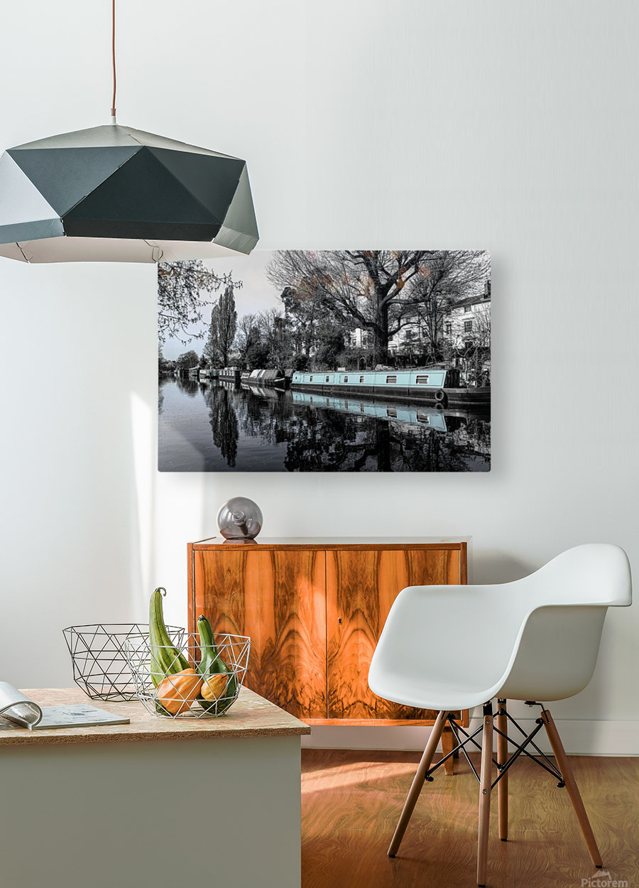 River and boats  HD Metal print with Floating Frame on Back