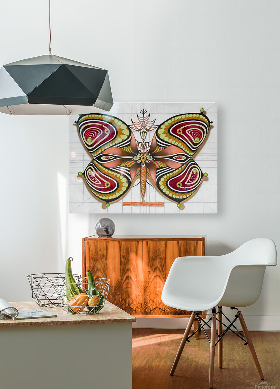 butterfly from the twenties  HD Metal print with Floating Frame on Back