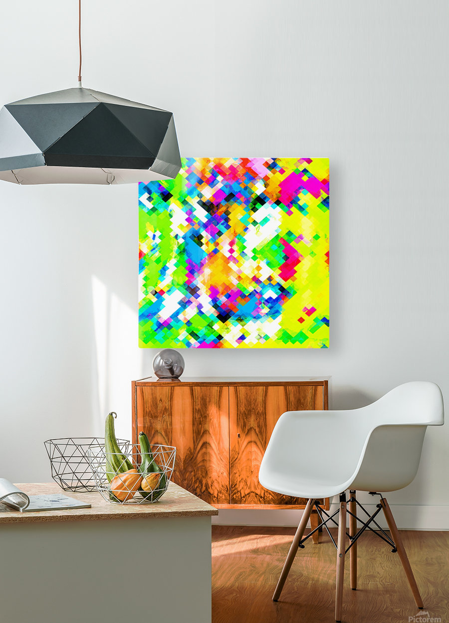 psychedelic geometric pixel abstract pattern in yellow blue green pink  HD Metal print with Floating Frame on Back