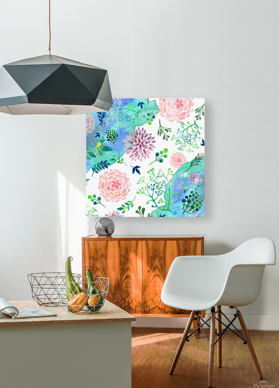 flower and blue agate  HD Metal print with Floating Frame on Back