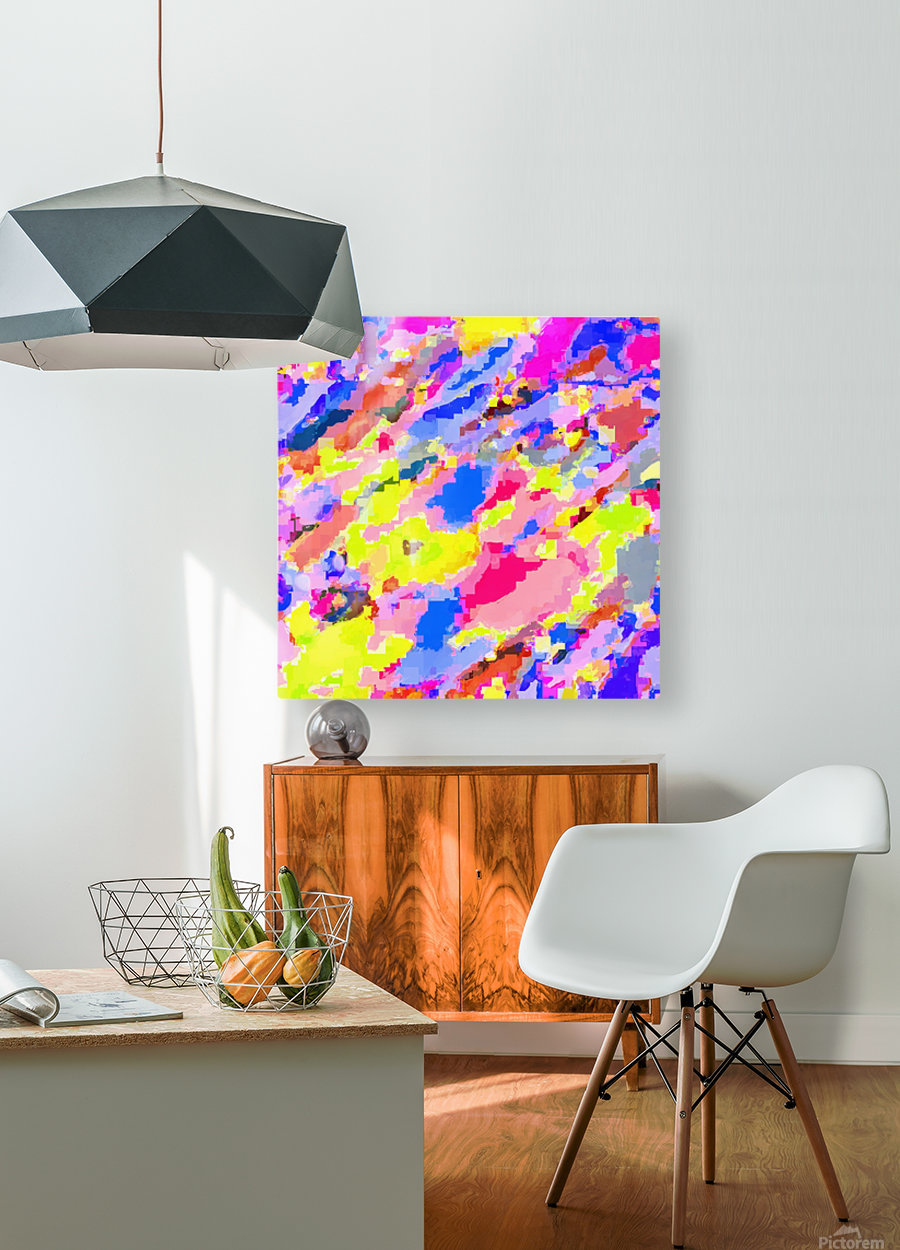 psychedelic geometric square pixel pattern abstract in pink yellow blue  HD Metal print with Floating Frame on Back