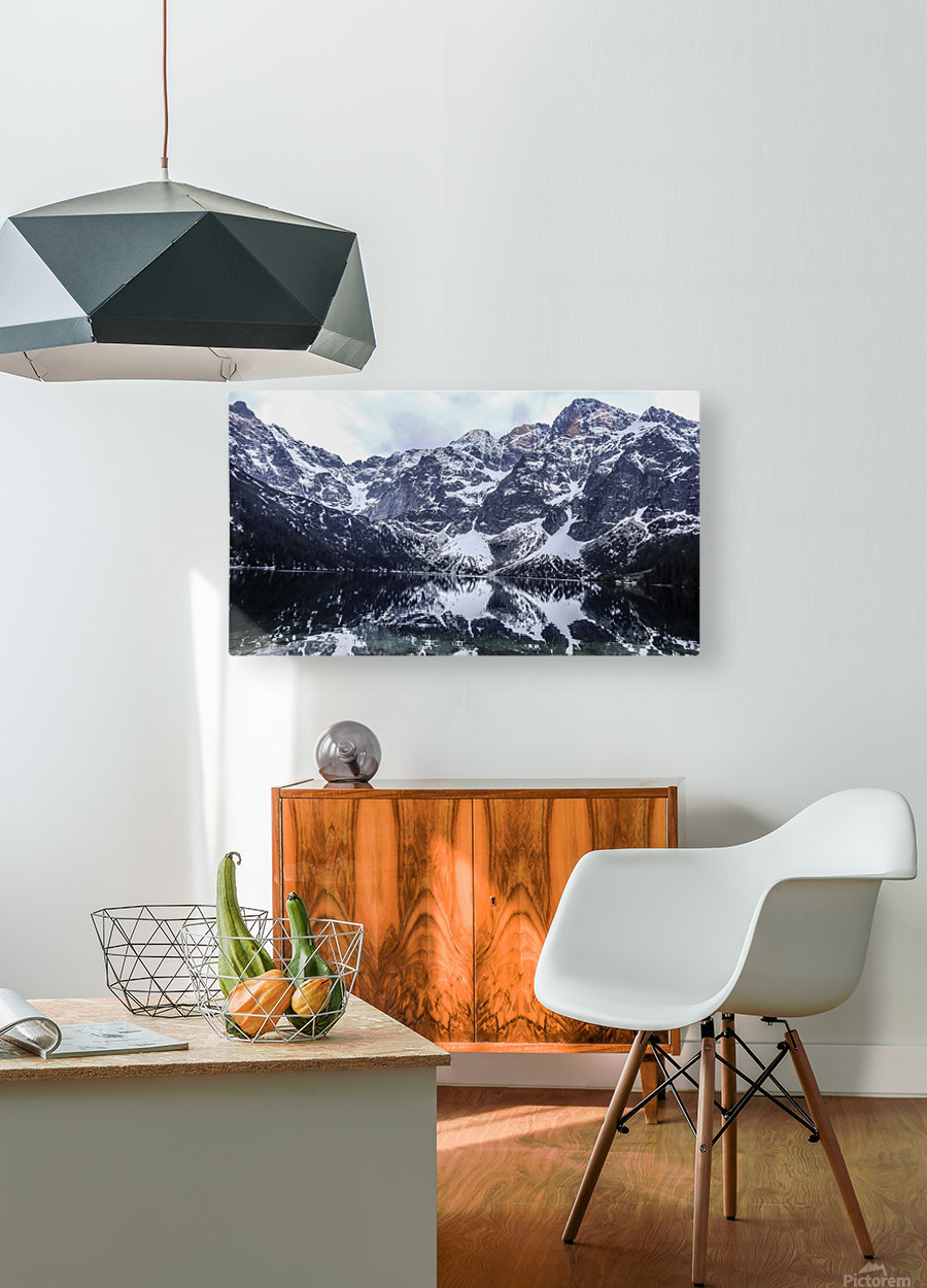 Mountains in the Lake  HD Metal print with Floating Frame on Back