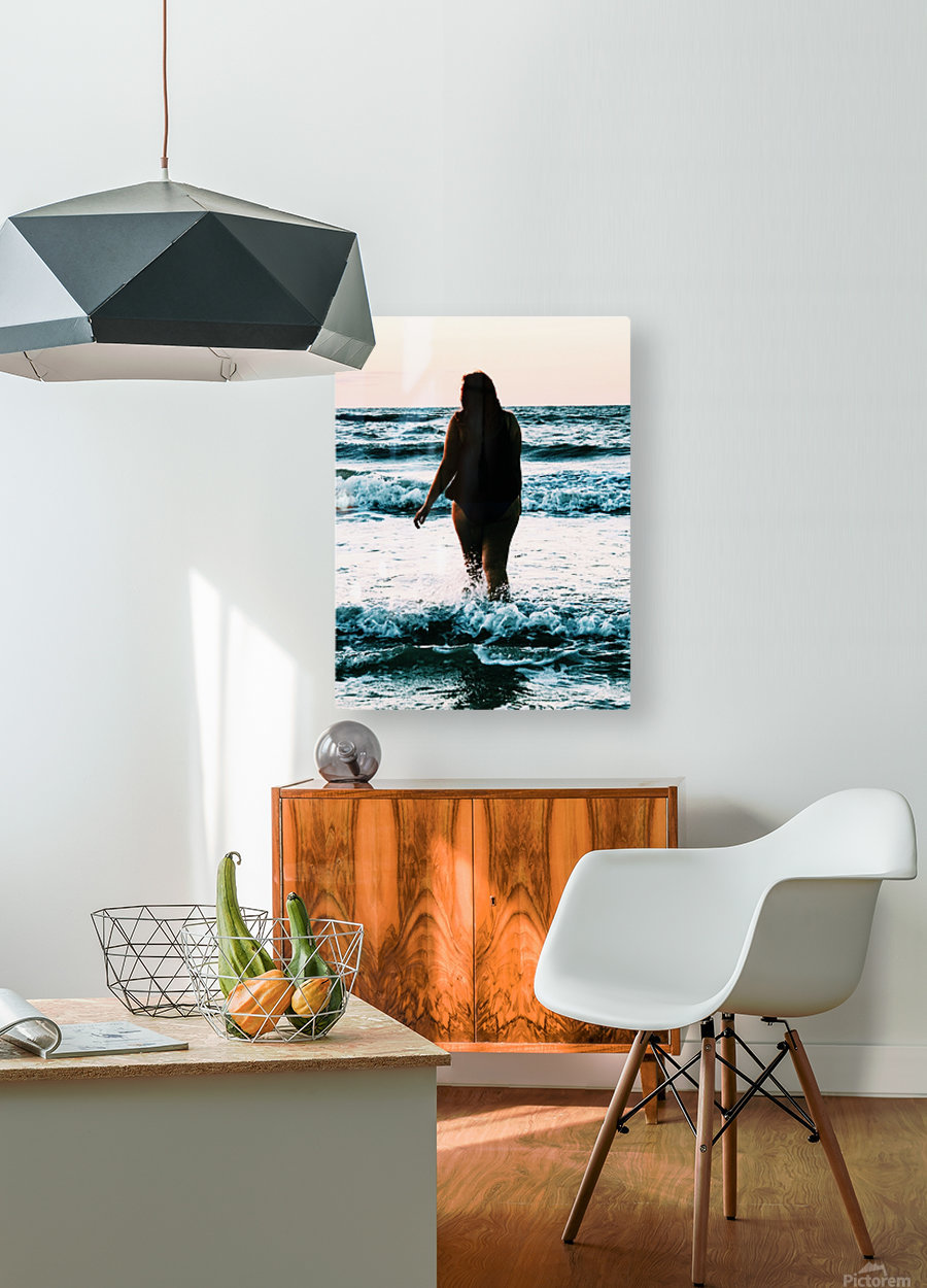 blue sea  HD Metal print with Floating Frame on Back