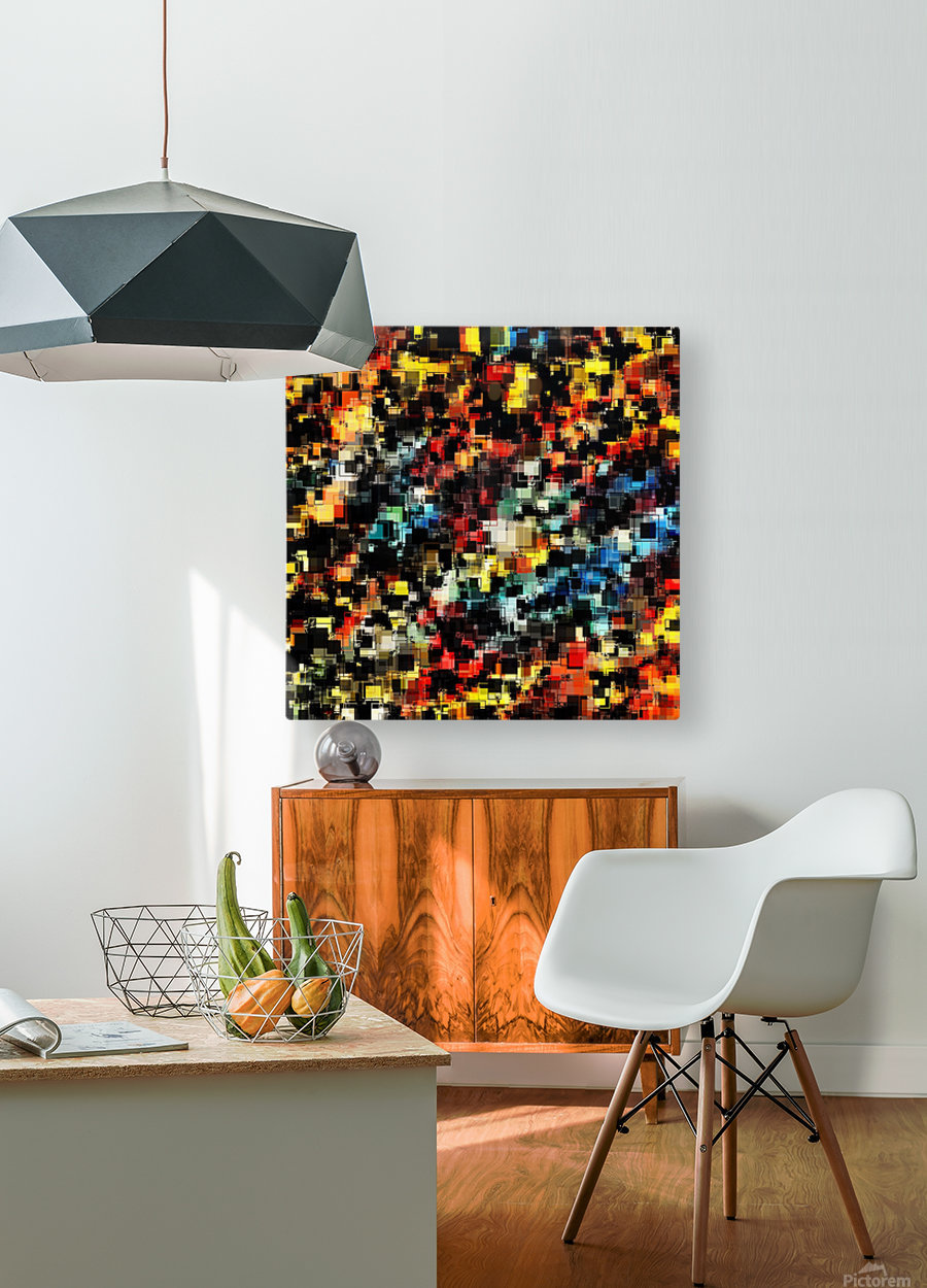 psychedelic geometric pixel square pattern abstract background in red orange blue yellow black  HD Metal print with Floating Frame on Back