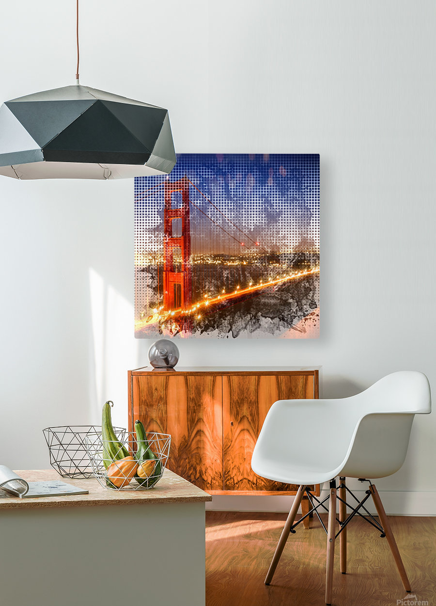 Graphic Art Golden Gate Bridge   watercolour style  HD Metal print with Floating Frame on Back