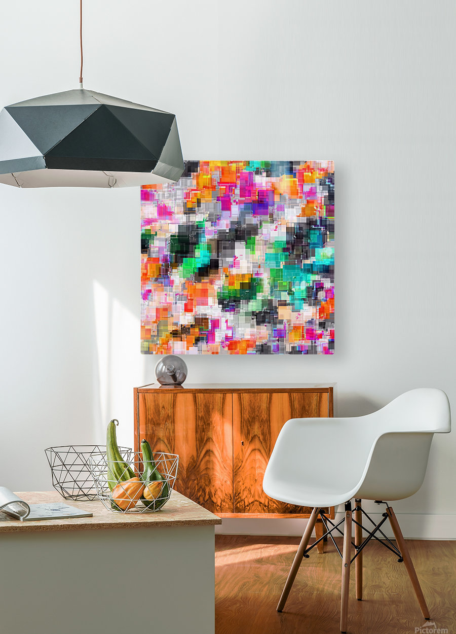 psychedelic geometric square pixel pattern abstract in orange green pink blue  HD Metal print with Floating Frame on Back