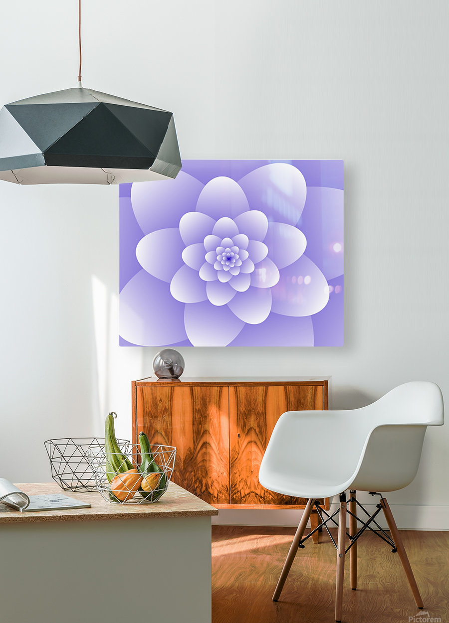 Purple Floral Spiral Artwork  HD Metal print with Floating Frame on Back